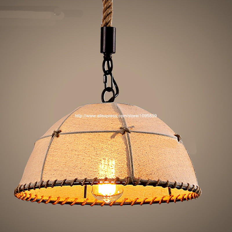 Dia 35cm/45cm/55cm Half Globe Linen Shade Retro Hemp Rope Industrial Pendant Lights Lamps Kitchen Ceiling Fixtures Lighting dia 72cm 75cm designer lighting etch shade suspension pendant lamps golden stainless steel shade pendant lights