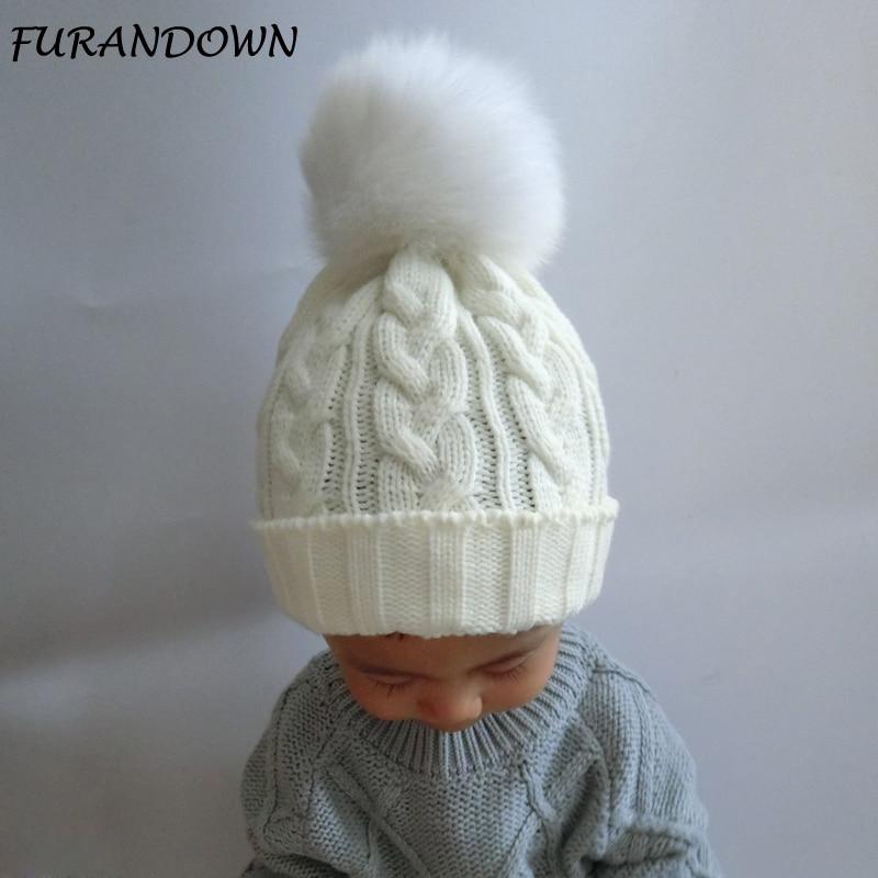 FURANDOWN Baby kalap Gyerekek Fur Pom pom sapkák Fiúk Lányok Meleg - Ruházati kiegészítők