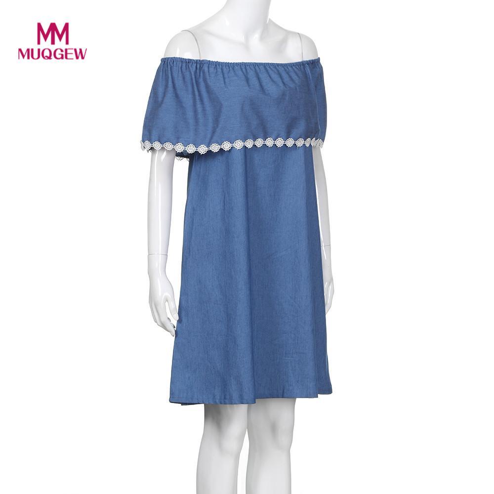 2018 Для женщин платья мама Для женщин с открытыми плечами кружева сращивания без рукавов платье из джинсовой ткани синий Новый Стиль Семейны...