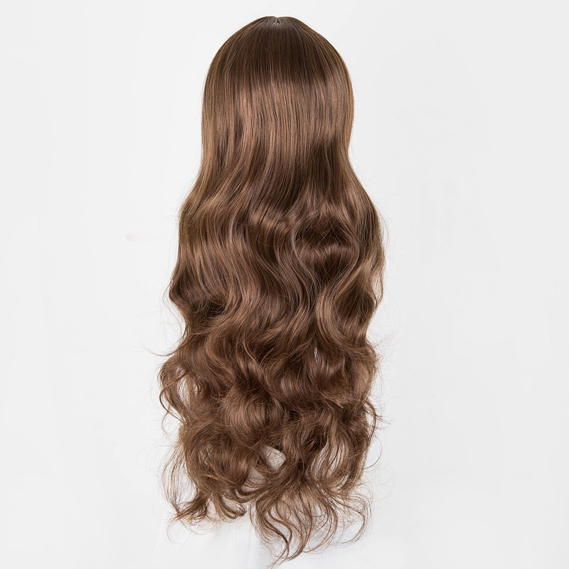Hair Extensions & Wigs Curly Wigs Fei-show Synthetic Heat Resistant Fiber Long Light Brown Hair Salon Inclined Bangs Hairpiece Costume Cos-play Hairset Synthetic Wigs