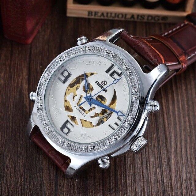82278a78577 FREQÜENTADOR Marca de Topo de Luxo Esqueleto Mecânico Automático Relógios  Moda Casual Relógio Crânio PU de