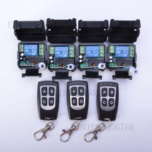 Non-Latched/Self-Latched wireless switch RF Wireless remote control switch system 3 transmitter +4 receiver(switch)12V 10A 1CH 12v 8ch power switch rf wireless remote control system transmitter