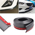 2.5M Carbon Fiber Car Styling Strips Sticker Body Kit Wrap Protector Protcetion Front Bumper Scratches Guard Lip Rubber Clips