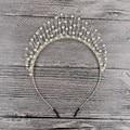 Generous Gold Silver Pearl Wedding Tiara Crown Handmade Bridal Hair Jewelry Women Accessories Headpiece