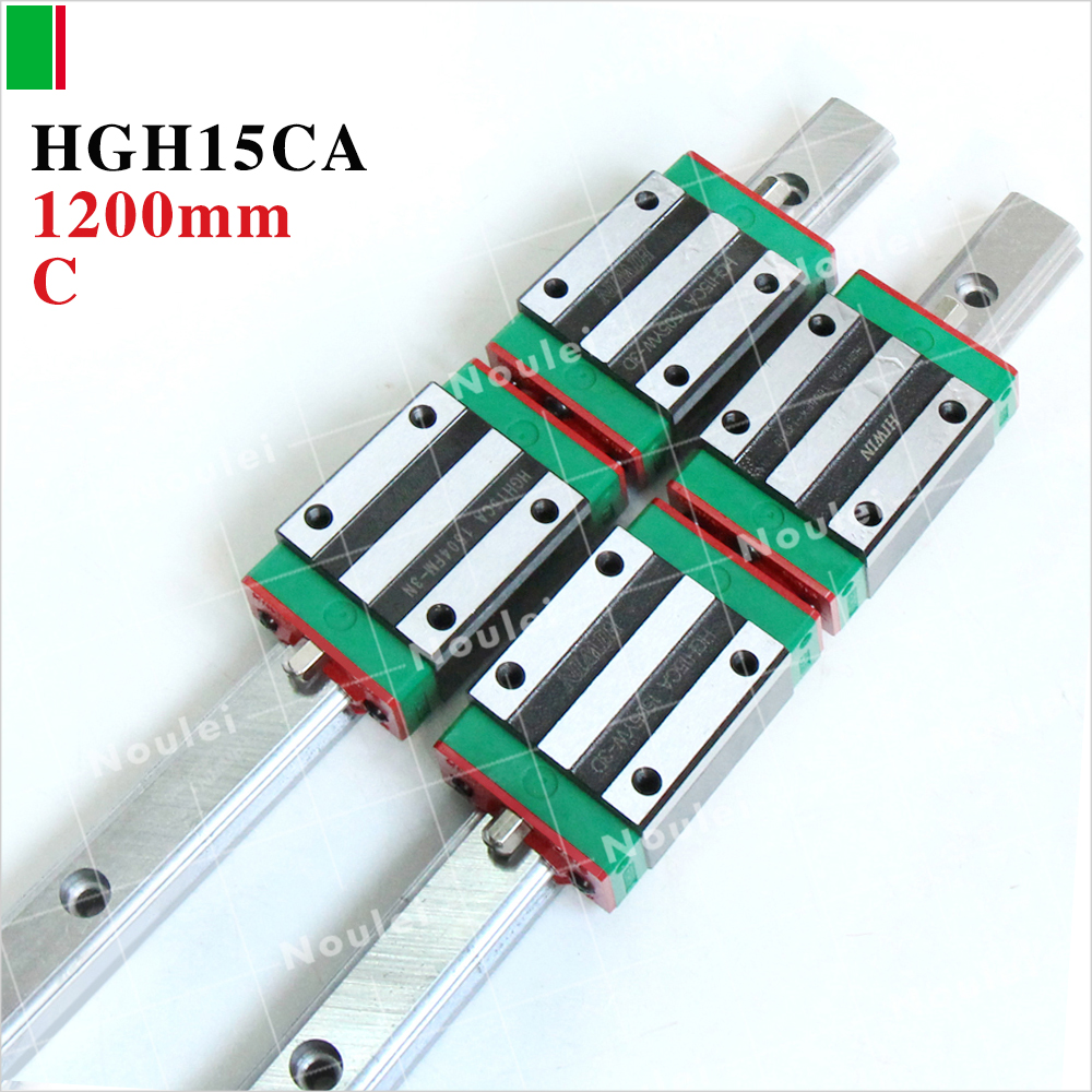 Linear guide rail cnc,2pcs HIWIN HGR15 1200mm linear rail+4pcs HGR15 Guide Block HGH15CA cnc hiwin hgr15 1700mm rail linear guide from taiwan