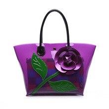 2016 Nuevo lujo mujeres Bolsas diseñador de moda del color del caramelo mano Bolsas con jalea floral Bolsas PVC impermeable bolsa de playa bolsos a0298