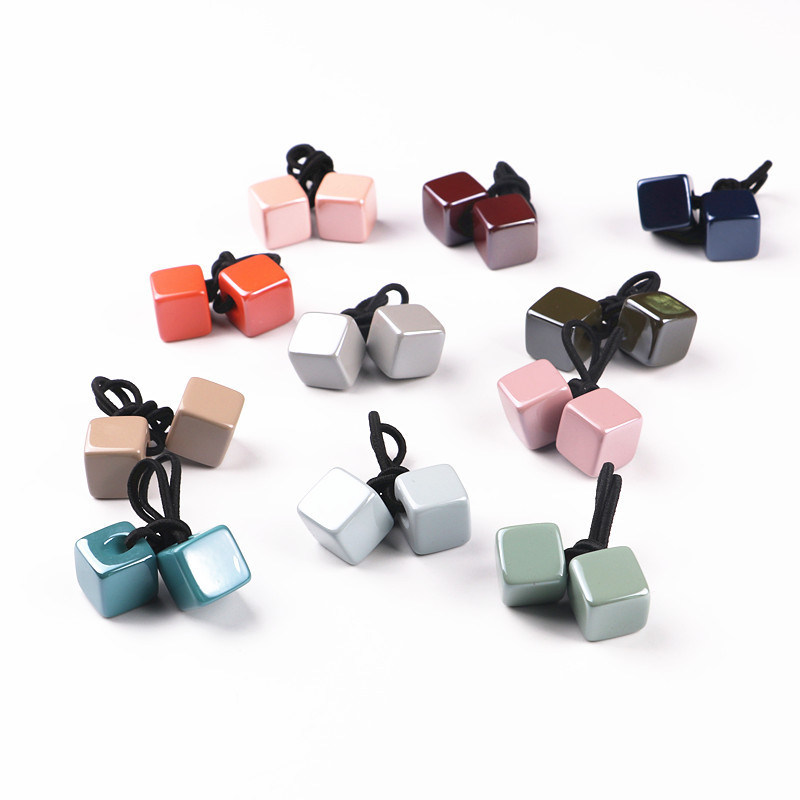 New Wholesale 20pcs/lot Children Hair Accessaries 3D acrylic square Hair Bands Elastic Ropes Ties Women Girls Ponytail Holder