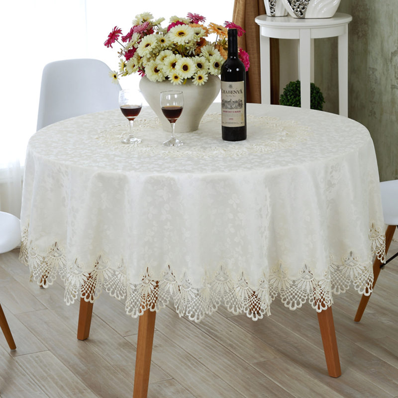 Decoration Nappe De Table European Round Tablecloth Embroidery Designs Elegant Lace