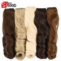Silike 190g 60 cm Étiré Ondulés Clip en Extensions de Cheveux Synthétiques 17 Couleurs Pures 4 Clips/pièce Chaleur résistant Fiber pour les Femmes