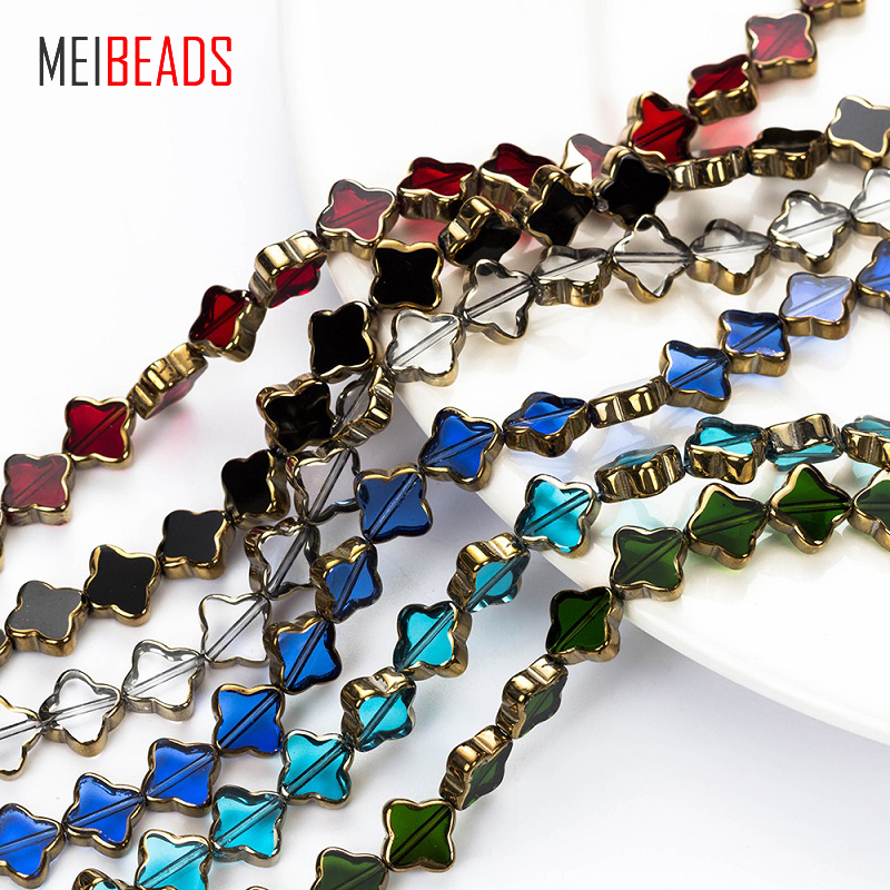MEIBEADS Crystal Glass Four-leaf Flower Shape Spacer Colorful Glass Beads Accessories Fit Bracelet DIY Jewelry Making EY5186(China)
