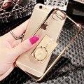 Caja del teléfono para iphone 7 plus se 5 5S 6 6 s plus Electrochapa lujo de Gel de Sílice Suave Bling Del Diamante Con el Anillo de Metal Stand Cases