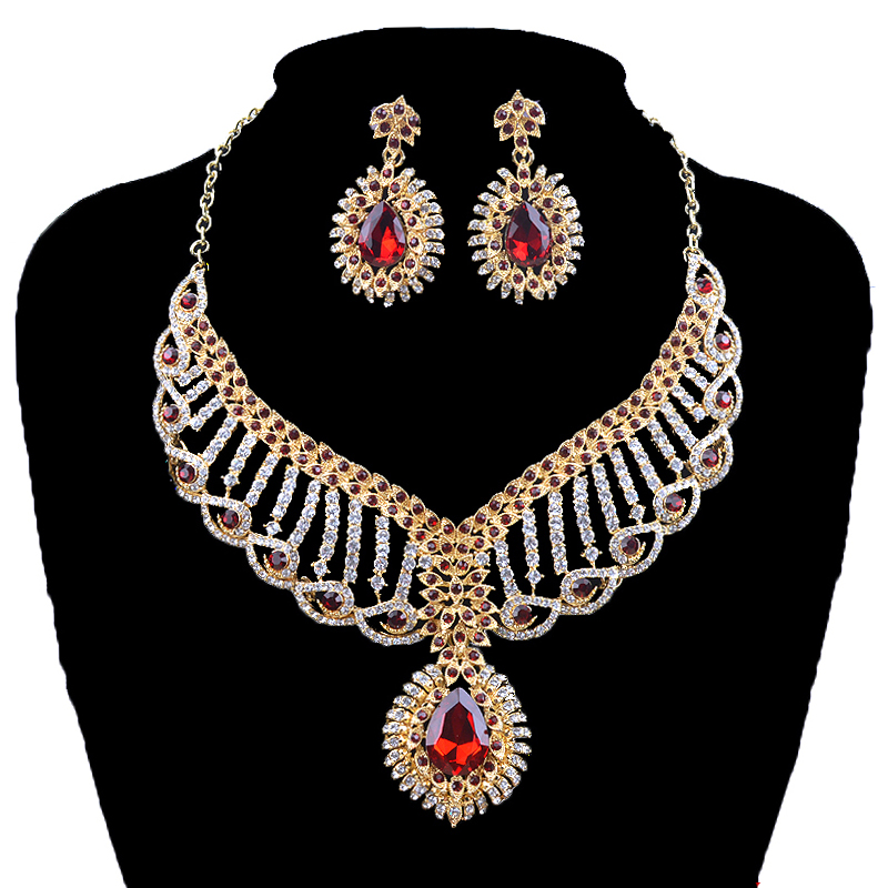New Indian Fashion Bridal Statement jewelry sets Austrian Crystal necklace and earrings Women party wedding jewelry accessories statement alloy crochet earrings and necklace