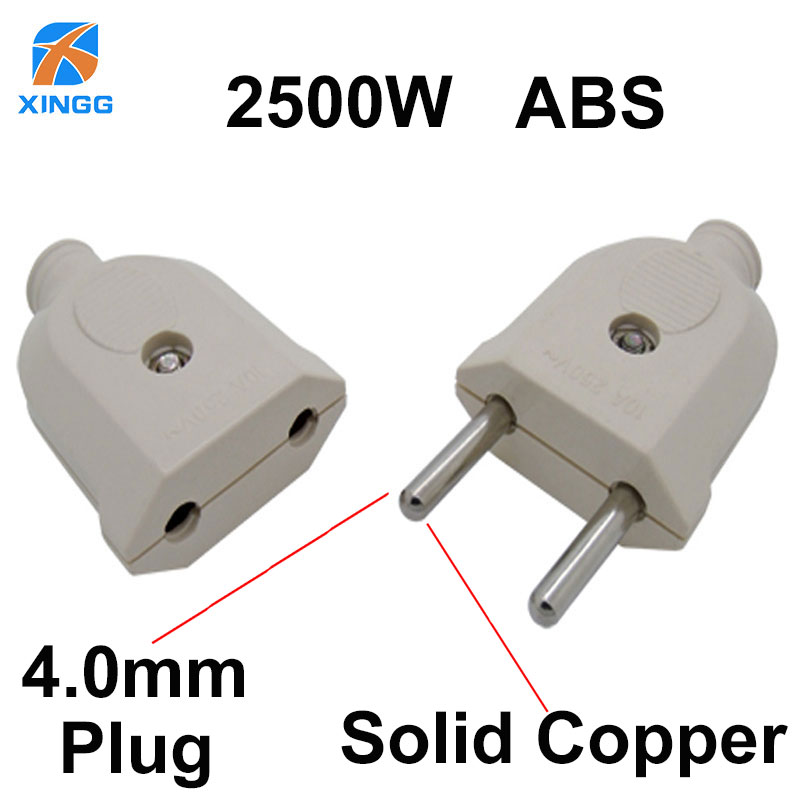 2 Pin EU Plug Male Female Electric Plug Socket Wiring Power Extension Cord Plug Connector Adapter Detachable Rewireable