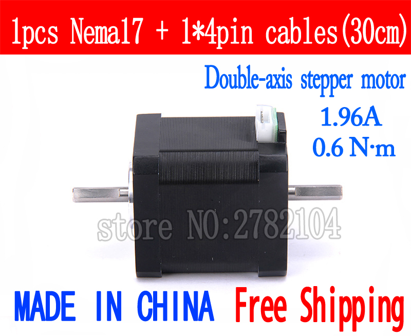 Free shipping 1pc Double axis 17(42HB3) 4-lead Nema 17 Stepper Motor 42 motor 42BYGH48 1.96A CNC Laser and 3D printerFree shipping 1pc Double axis 17(42HB3) 4-lead Nema 17 Stepper Motor 42 motor 42BYGH48 1.96A CNC Laser and 3D printer