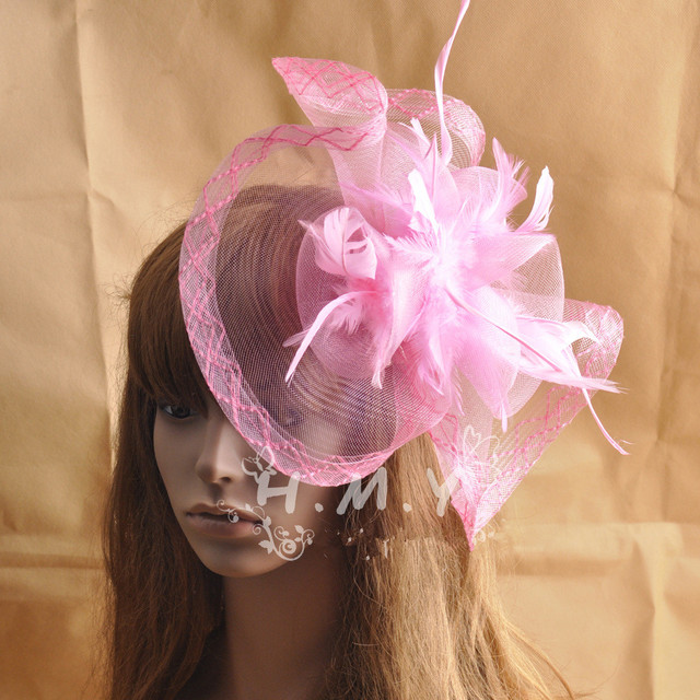 Pink Wedding Hat Face Veil With Feather and Flower Decoration Wedding Party Bridal Hats chapeau de mariage pas cher