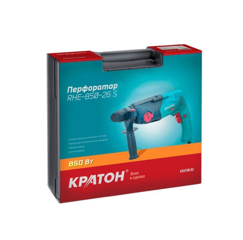 цена на Rotary hammer KRATON RHE-850-26S 850W 0-1100 revolutions / min, 2.5 J SDS + 26 mm + 3 drills mode, the peaks in the case