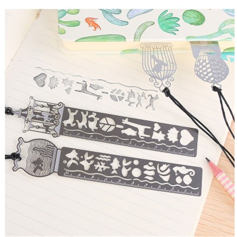 4pcs Cute Kawaii Stainless Steel Fairy Tale World Ruler Bookmark Four Pattern  Office School Supplies