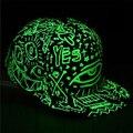 Unisex Doodle Luminous in the Dark Night Glow Hat Snapback Baseball Hip-Hop Cap New Arrival