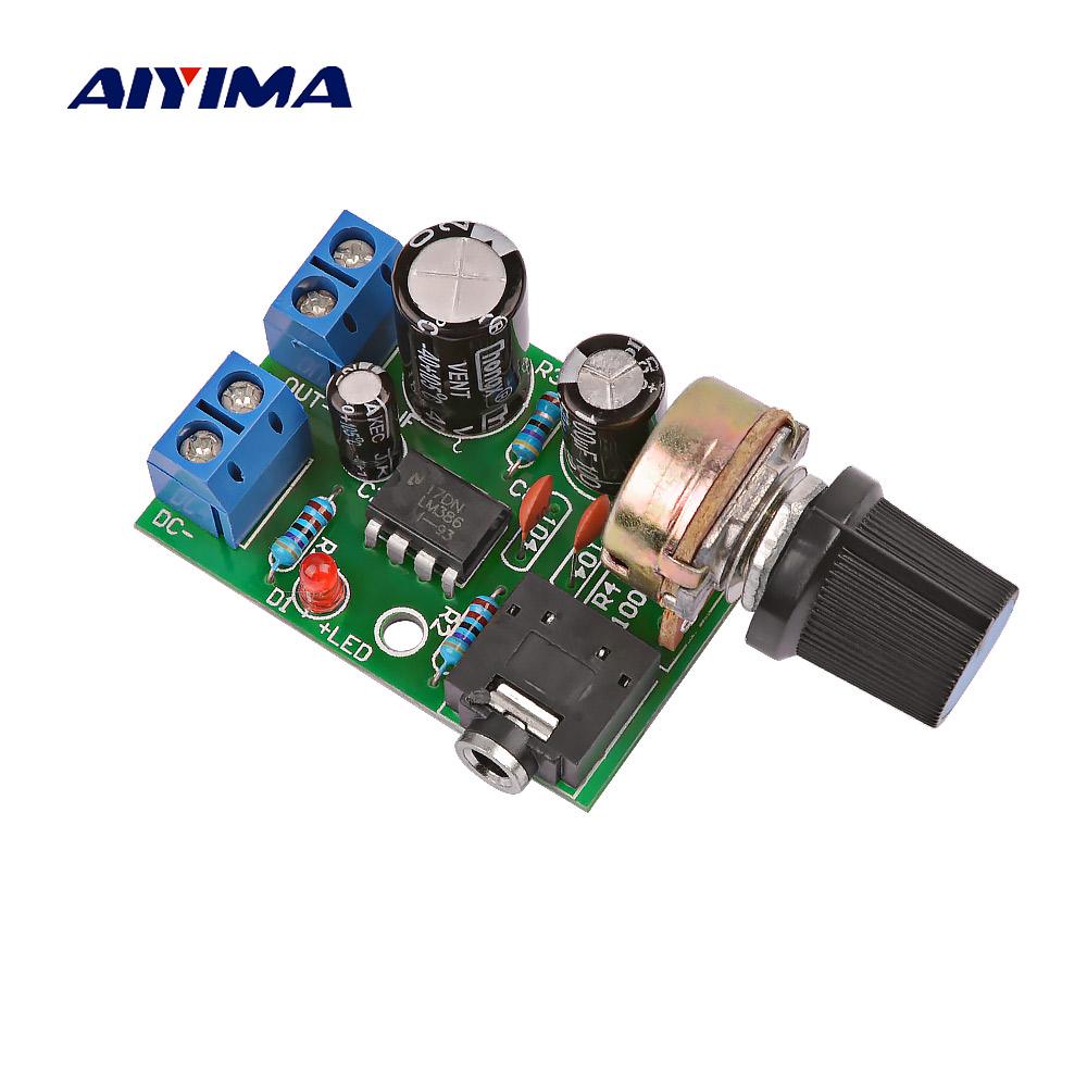 AIYIMA Mini LM386 Audio Amplifier Board Mono Amplificador AMP With Volume Adjustment DC3-12V For 0.5-10W Audio Speaker DIY