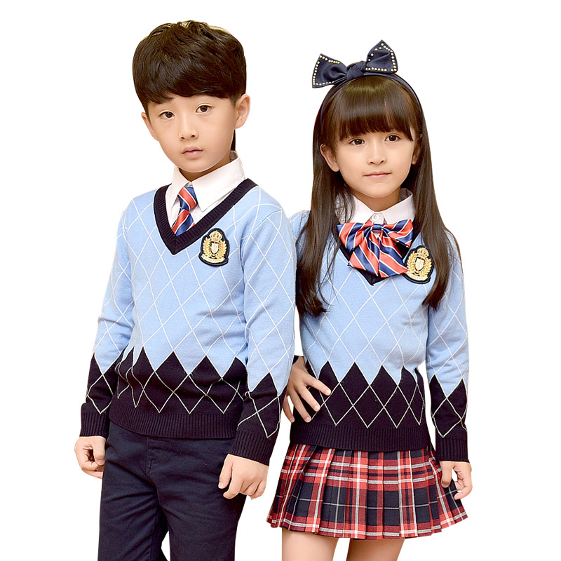 Students School Uniforms 2018 New Autumn Winter Clothes School Uniforms Suit Plaid Skirt Cardigan Sweater School Uniforms 2-10T dabuwawa 2017 vintage plaid vest skirt natural waisted elegant pencil button skirt autumn winter jumper skirt d17ddx018