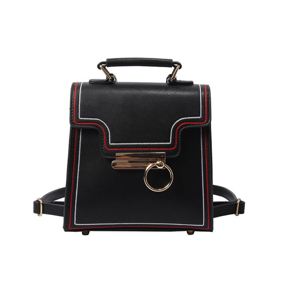 2018 New Retro Fashion Women Backpacks High quality PU Leather Lock Small Backpack Travel Books Rucksack Simple School Backpacks 1