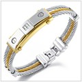 "7.67""*11mm Personalized Unisex Cubic Zircon Jewelry 316L Stainless Steel Silver Gold Cable Wire Bangle Bracelet For Men Women"