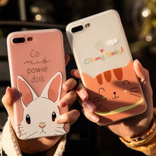 Cyato Cute Animal Patterned Case Lovely rabbit cat TPU case For iPhone 7 8 6 6S plus X With Grind style