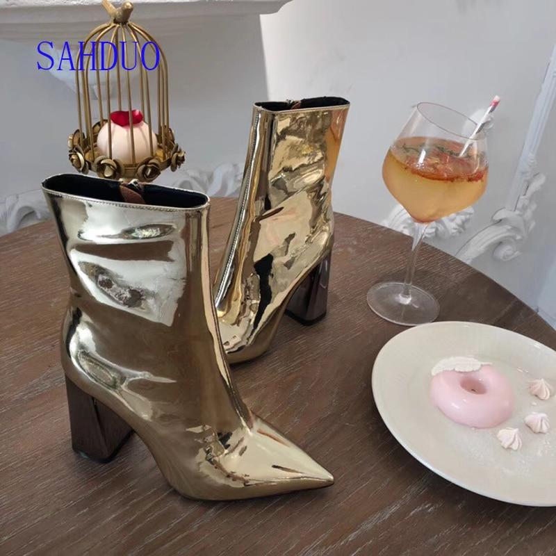9 Señaló Cuadrado Botines Plata Lujo plata Cuero Mujeres Mirrored Cm Altos Superior Oro 2018 Tacón Zip Tacones Calidad De 0 7wf6v6qZ