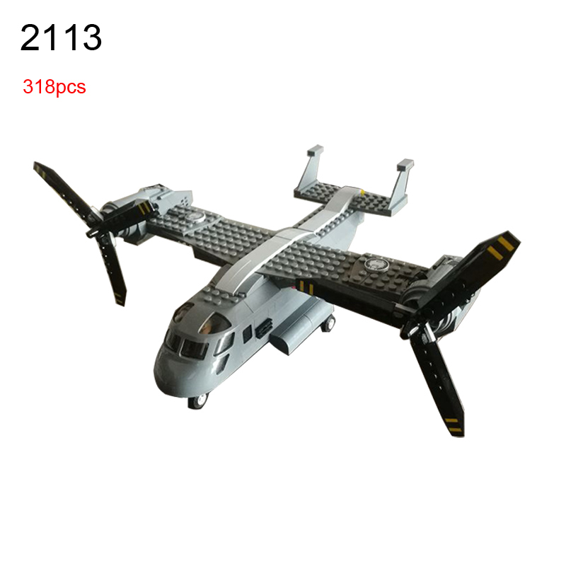 2113 318Pcs Military series Osprey helicopter Model Building Blocks DIY Educational Bricks Toys For Children Gift enlighten building blocks military submarine model building blocks 382 pcs diy bricks educational playmobil toys for children