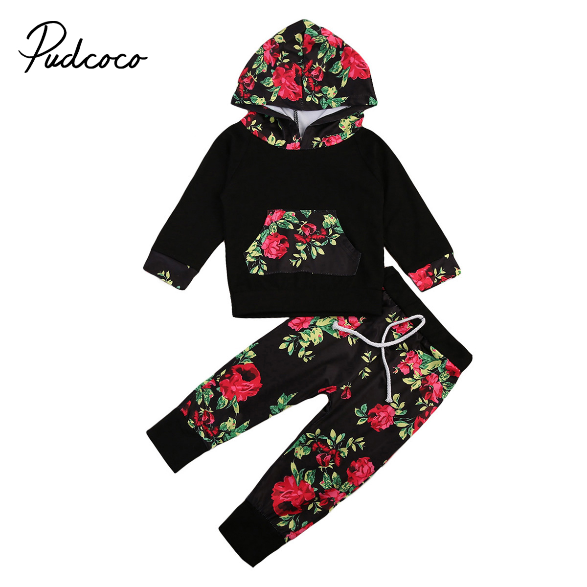 2017 Baby Girl Flower Winter Clothes Shirt Long Sleeve Cotton Tops+Pants Leggings Set Fall Cotton Girls Hoodie Toddler Clothing toddler kids baby girls clothing cotton t shirt tops short sleeve pants 2pcs outfit clothes set girl tracksuit