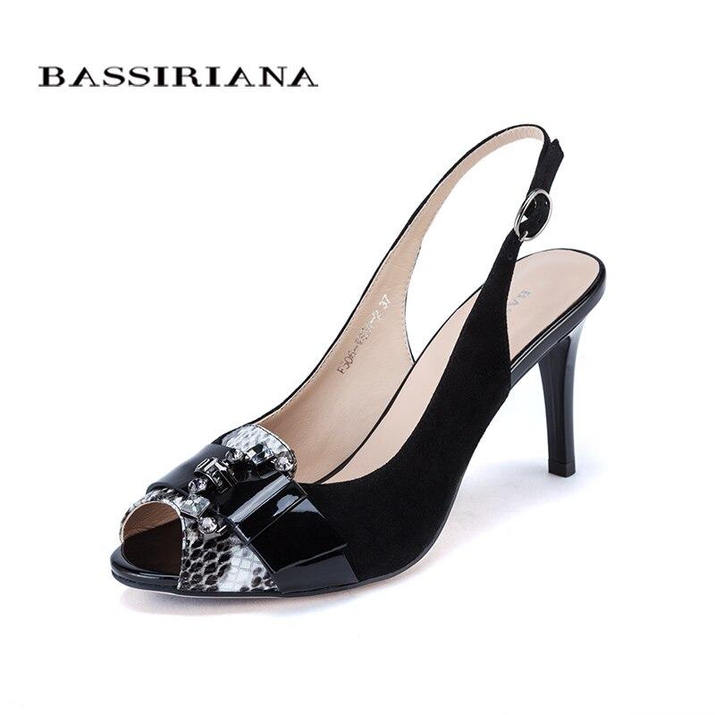 여성을위한 높은 얇은 발 뒤꿈치 샌들 기본 모델 정품 가죽 캐주얼 35 40 사이즈 샌들 여성 들여다 발가락 무료 배송 bassiriana-에서하이힐부터 신발 의  그룹 2