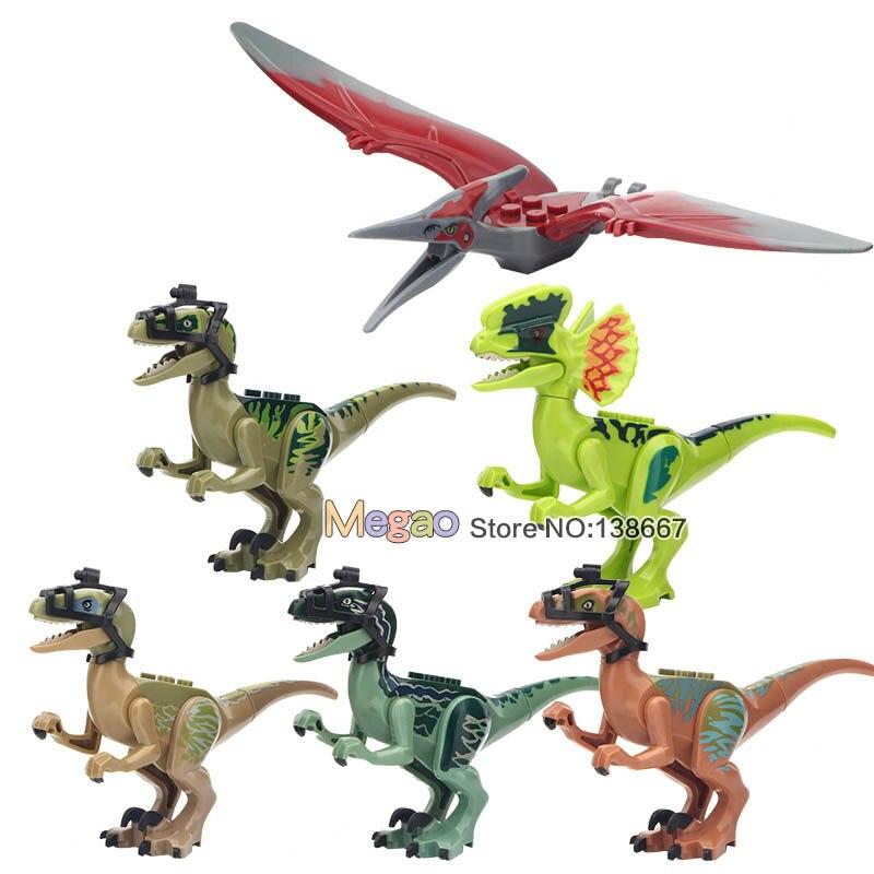 10 set di Dinosauro Mondo Parco Rex Tyrannosaurus Dilophosaurus Velociraptor Building Blocks Action Bambole Giocattoli per il Regalo Dei Bambini-in Blocchi da Giocattoli e hobby su  Gruppo 1