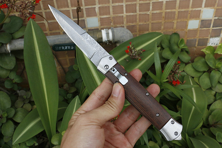 Image 2 - Free shipping sharp Damascus steel imports blacksmithing camping tool folding knife wood handle outdoor self defense knife-in Knives from Tools