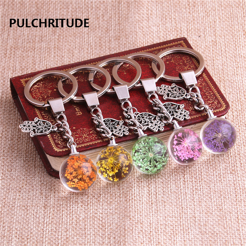 Jewelry & Accessories Pulchritude 2 Pcs/lot Metal Keychain Crystal Glass Ball Dried Flower Pendant Hamsa Hand/palm Charm Key Ring Jewelry Diy C0539 Jewelry Sets & More