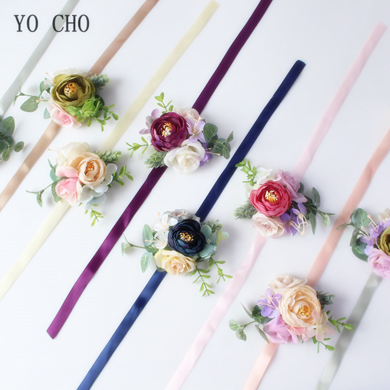 YO CHO Handmade Fake Silk Rose Wrist Flowers For Bridesmaid Wrist Corsage Bracelet Groom Boutonniere Corsage Wedding Accessories