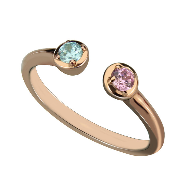 427263e9b6 AILIN Rose Gold Color Dual Birthstone Ring Personalized Two Birthstones  Ring Couple Ring