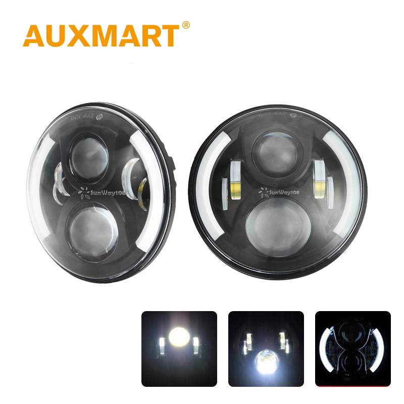 Auxmart 2pcs 60W 7 inch LED Projector Headlight  For Jeep CJ Wrangler JK TJ LJ Land Rover Defender H4 H13 Hi-Lo Beam high power 7inch round led headlight for jeep wrangler jk tj lj cj willys wheeler unlimited rubicon hummer land rover defender
