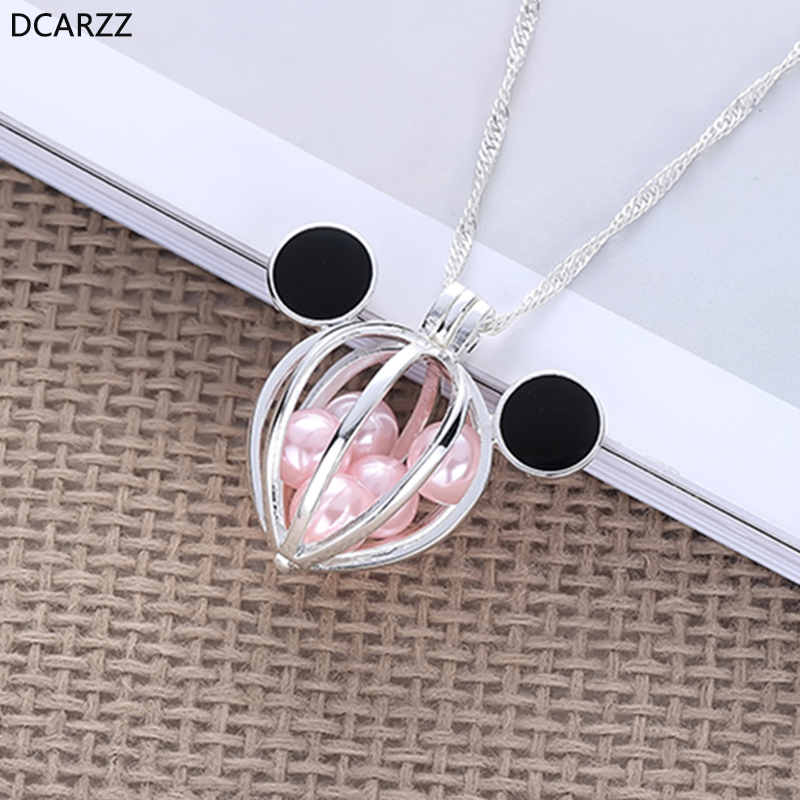 2019 Silver Mickey Ears Pearl Cage Pendant Minne Locket Necklace Fashion Jewelry Pink Pearls Beads Necklaces