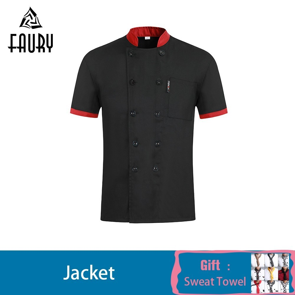 Chef Jacket Short Sleeves Summer Chef Uniform Shirt Cook Costumes Restaurant Food Service Hotel Work Clothes Free Scarf Gift