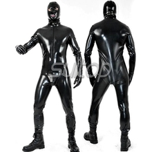 Latex glued tights straikacket Teddies sexy Apparel breathless catsuit with attached glve hood and sock
