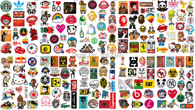 170pcs vinyl sticker supreme brand logo skateboard luggage car phone 15 19 24