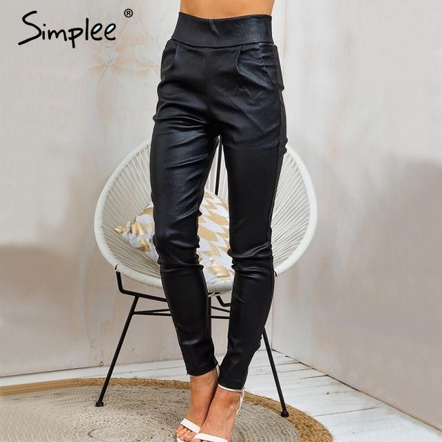 Simplee Otoño negro delgado lápiz pantalones capris Moda streetwear casual pantalones leggings pantalones de cintura Alta con cremallera bolsillo