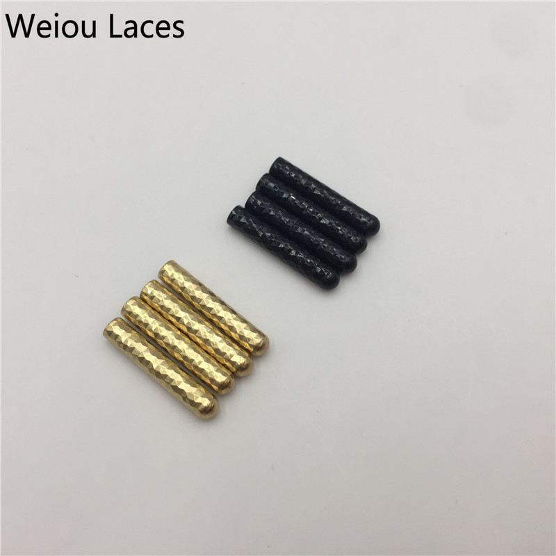 Weiou(100Pcs/25sets) Shiny End Of The Shoelace Make Your Own Shoe Laces Gold Aglets Personalized Highlight Metal Tricks Tips weiou 100pcs 25sets fashion shoelace metal aglet 6 6 25mm shoe laces mirror gold metal tips heads diy replacement w screwdriver