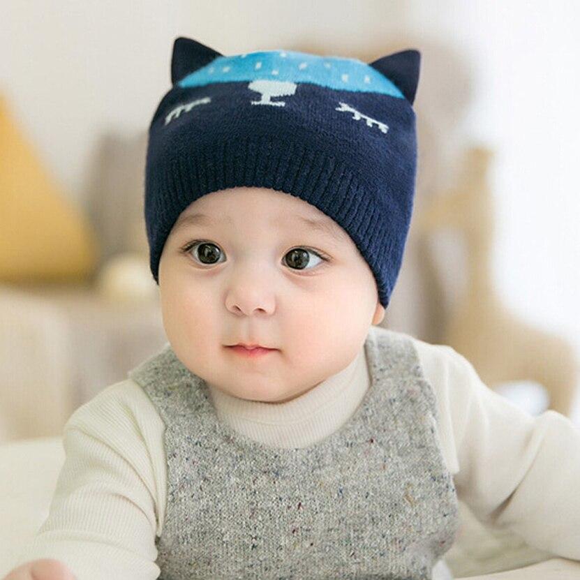 2017 autumn baby beanie male female cartoon animal baby cap child kids cotton pocket hat