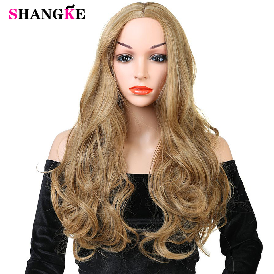 26 Long Curly Wigs for Black Women African American Synthetic Grey Brown Wigs Heat Resistant Curly Wig For Daily Use SHANGKE