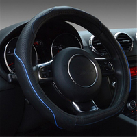 38cm 15 Black Artificial Leather Car Steering Wheel Cover Comfort Grip For Kia K2 Kia Rio