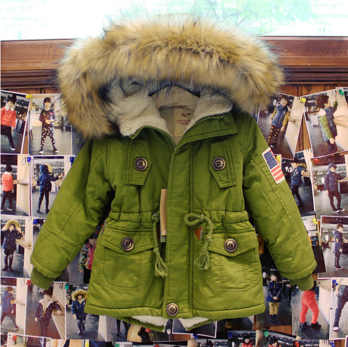 2016 big Fur collar Children's thickening cotton-padded outdoor warm winter jacket for boy army Hooded Girls Winter Coat parka 2016 new winter coat collar men thickening big hooded cotton coat prevent cold outdoor lovers long fur collar cotton parka