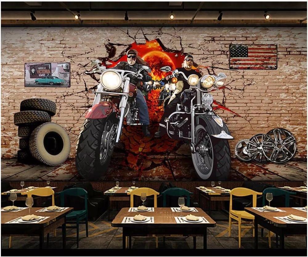 Custom Photo 3d Wallpaper Retro Motorcycle Nostalgic Brick Wall Living Room Home Decor 3d Wall Murals Wallpaper For Walls 3 D