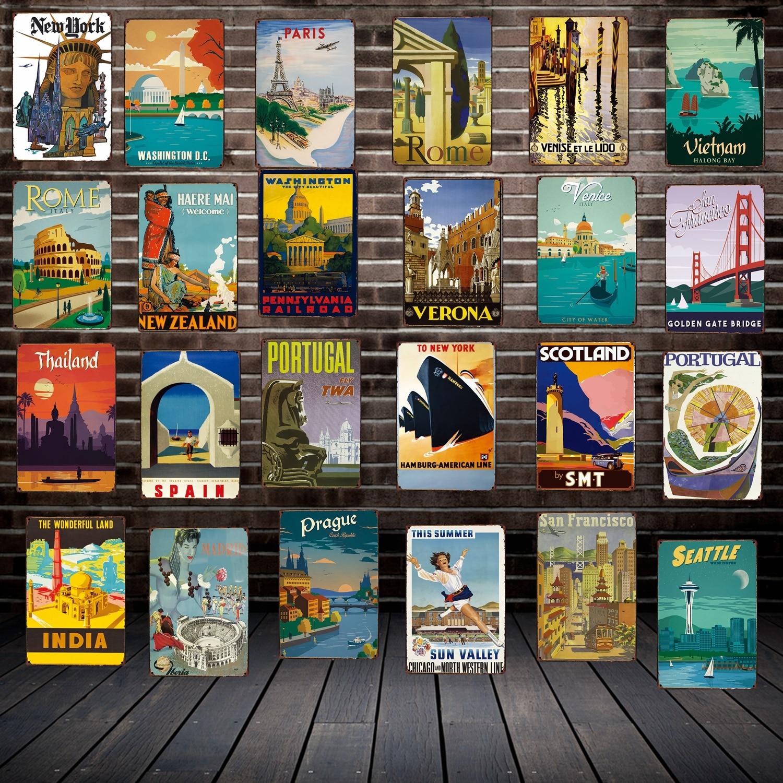 [Mike86] Металлические Плакаты для путешествий, римские настенные таблички в стиле Нью-Йорка, Жестяная Табличка, ретро-сувениры, Подарочный под...