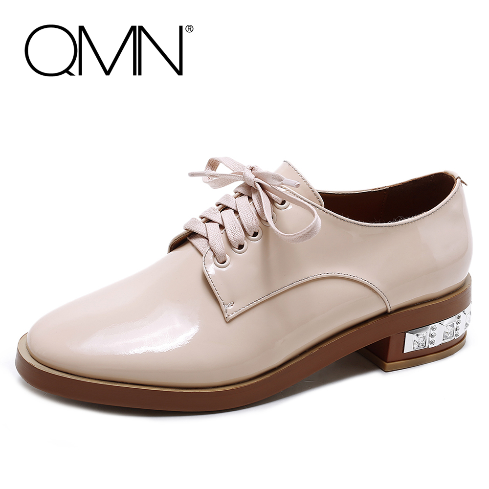ФОТО QMN women crystal embellished leather brogue shoes Women Patent Leather Oxfords Lace Up Shoes Woman Leather Flats